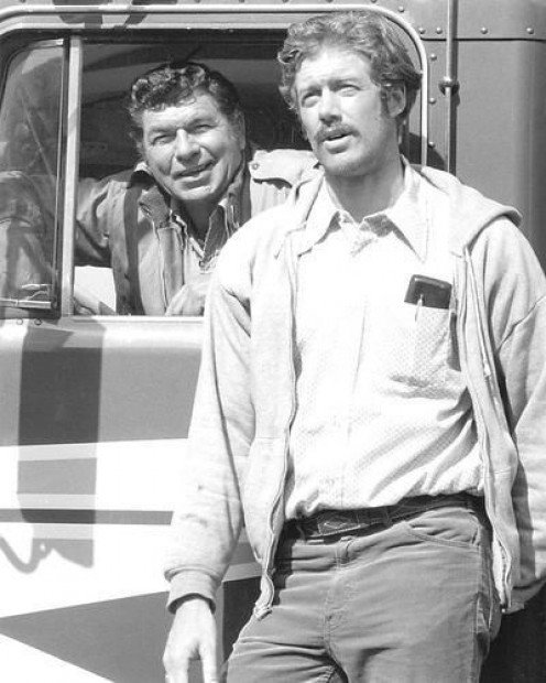 Claude Akins and Frank Converse in Movin' On.