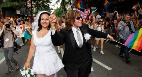 Two women getting married legally, and venturing into commitment.