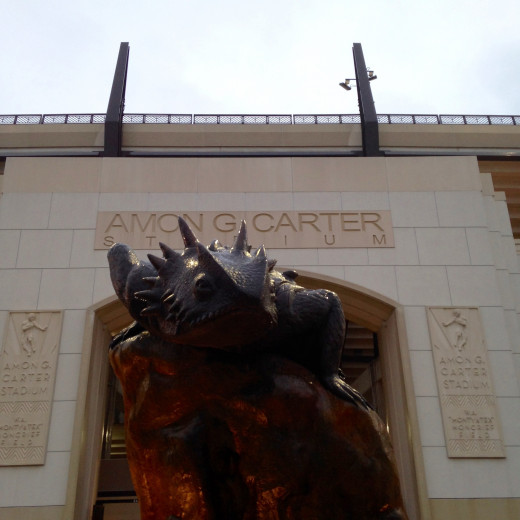 Bronze Horned Frog outside the entrance to Amon G. Carter Stadium