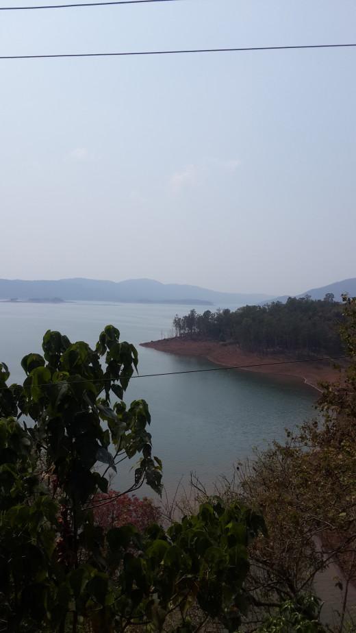 Supa Dam reservoir as seen from an adjacent highway between Ganeshgudi and Londa.