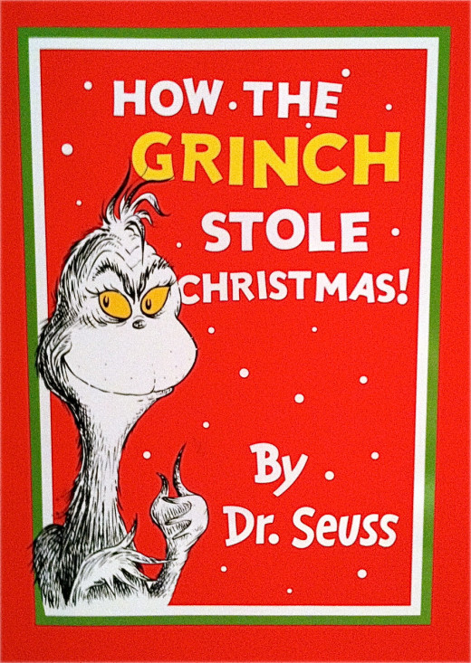 The original book cover (note that the Grinch was originally black and white only)