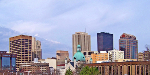 Downtown skyline of Dayton, Ohio in Western Ohio in the Ohio Space Corridor.