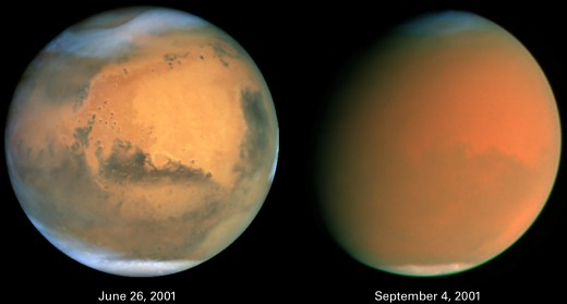 Before dust storm-June 26, 2001 During dust storm-September 4, 2001