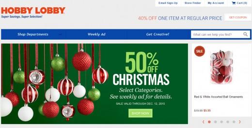 Screenshot from Hobby Lobby website homepage.