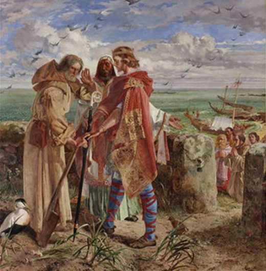 King Ecgfrith with Bishop Trumwine talks Cuthbert into leaving Lindisfarne, AD 664