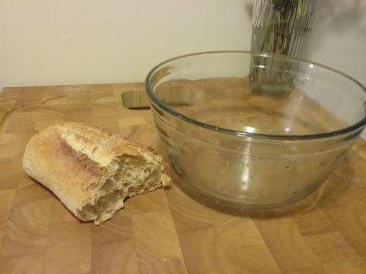 Start with a large bowl and half a loaf of day old Italian bread. Or a few days old. Just don't use fresh bread or bread crumbs. It really makes a difference.
