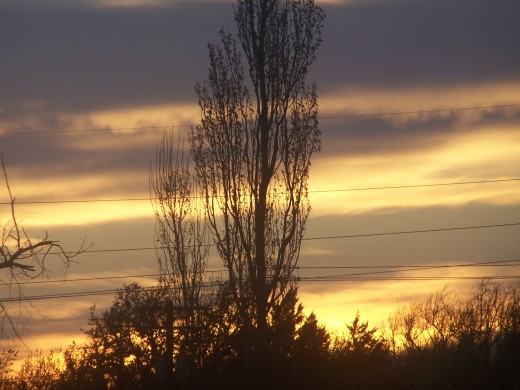 Then a warming sun peeks above the horizon,,, to greet the chilly morn...