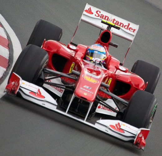 Fernando Alonso in his Ferrari