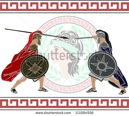 Two men of different armies, Trojan and Achean, poised for battle