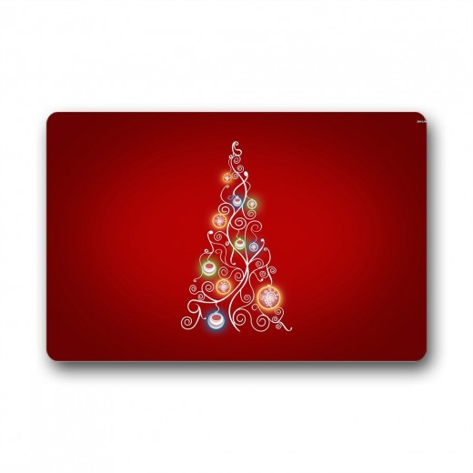 A beautiful red mat with a decorated Christmas tree on it, perfect to welcome guests into your home this holiday season.