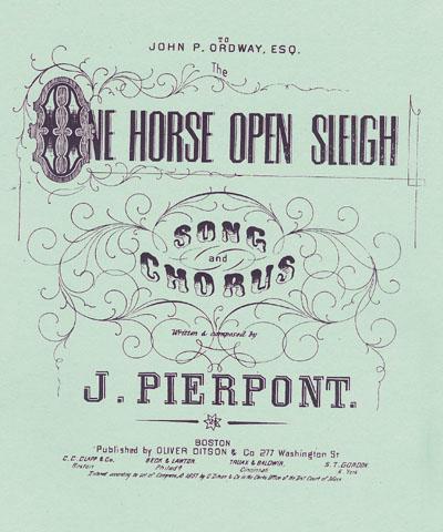 """Sheet Music of the original Jingle Bells then Called """"One Horse Open Sleigh"""" written by J. Pierpont"""