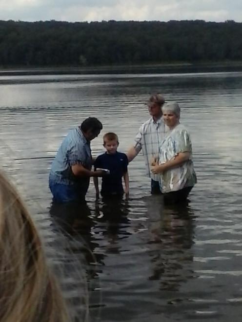 Jackson getting baptized.