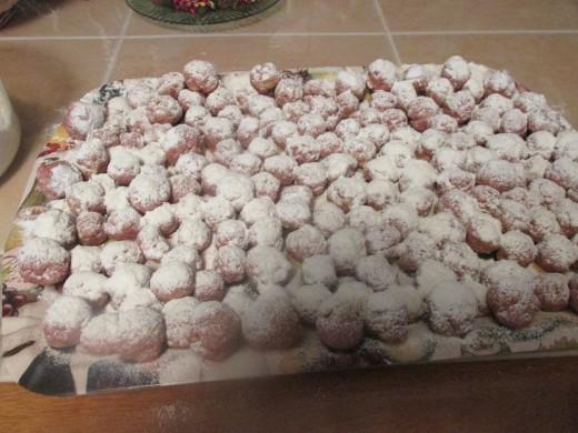 Meatballs dredged in flour.