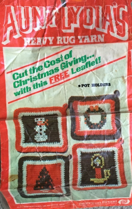 Saved for some 38 years -the potholder pattern - for the gift to Aunt Marion !