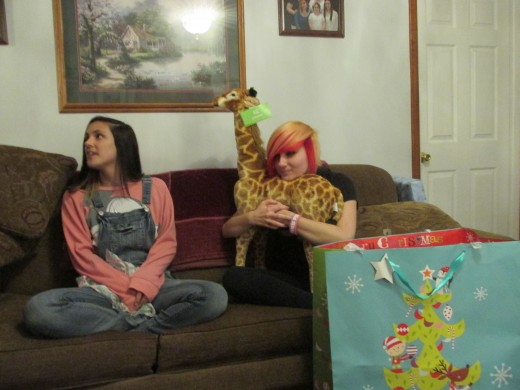 Opening presents.