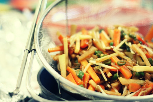Eastern Cuisine consists mostly of vegetables with small portions of protein.