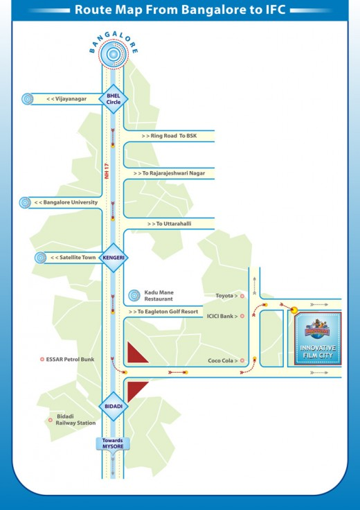 The route map to Innovative Film city from Bangalore