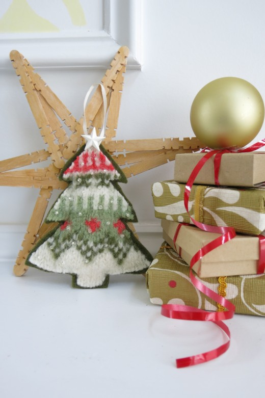 Make a Christmas tree ornament out of an old felted sweater