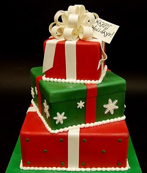 This cake is made Christmas presents the you would see under a Christmas tree.