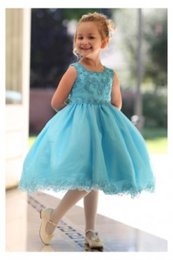Beautiful And Cheap Blue Flower Girl Dresses