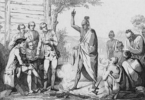 Conference between the French and Indian leaders around a ceremonial fire by Émile Louis Vernier (1829 - 1887).