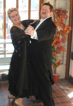 The author and partner demonstrating closed hold typical of the Standard Dances