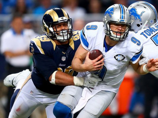 Aaron Donald had 3 sacks on the day against the Lions.