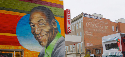 A mural of the man