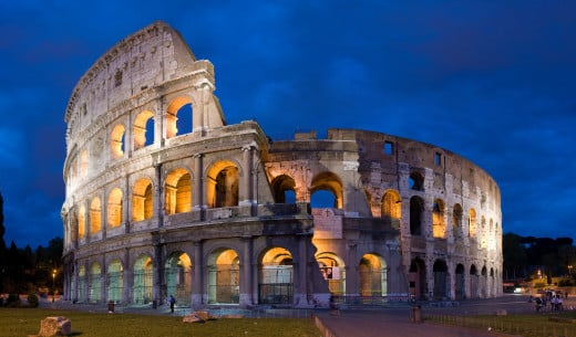 The most famous and grandest amphitheater was the Colosseum that was begun by the Emperor Vespasian in about 72 AD. It served as arenas in which the Roman staged spectacles that entertained the population.