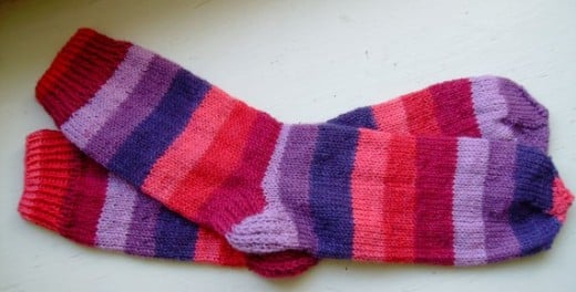 A pair of lady's socks I have knitted from Knit Picks Felici Yarn