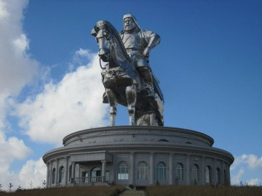 Statue of Temujin - Chengiz Khan- At the bank of the Tuul River at Tsonjin Boldog