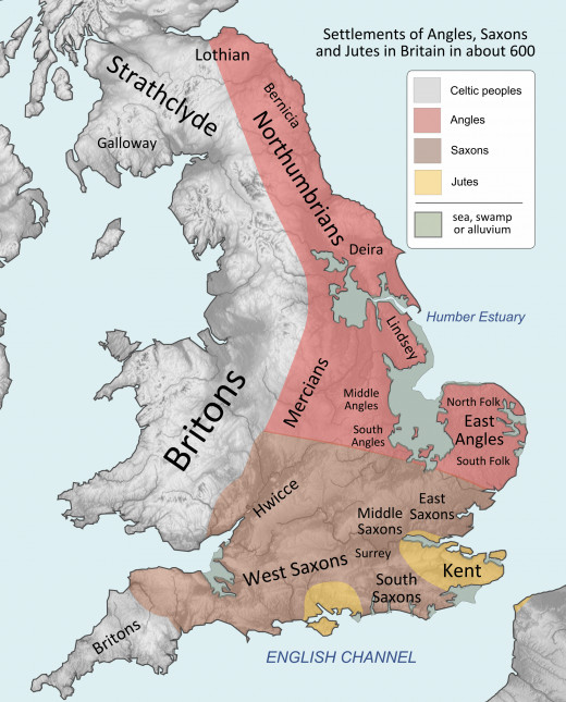 The kingdoms roughly AD 600 - look at the eastern coastline (below) compared with today's outline (faint line). Looks like the Saxons got the prime growing and pasture lands, aside from the Somerset Levels near Glastonbury