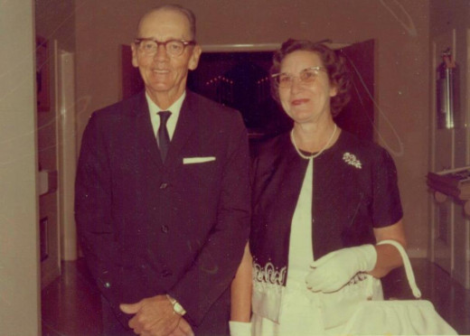 Uncle Forrest and Aunt Jessie at a wedding in 1967. Notice the white gloves.