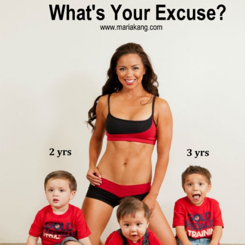 "Maria Kang in her ""What's Your Excuse"" campaign"