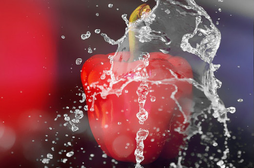 A red pepper grown in a media of water and fish.