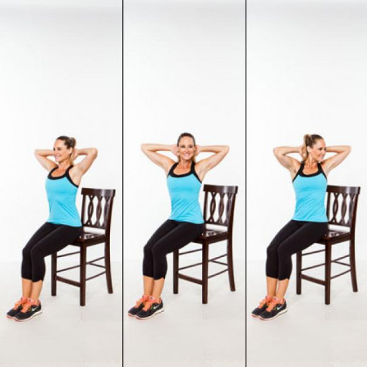 Seated Sprinkler. Seated with your bum on the edge of a chair and your back straight, twist from your core right until you reach a 45 degree angle, return to center, and repeat on the left side.  Do this for a count of 20, 10 each side and 4 reps tot