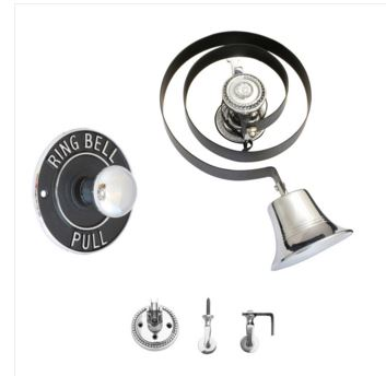 A polished chrome traditional butlerss bell kit