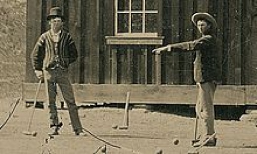 Billy the Kid (left) playing a non-violent game of croquet with a pal