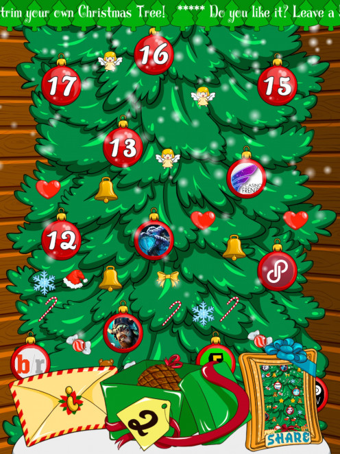 Took this picture myself, it's an advent calendar. You open a door each day and get a free gift like a free app down load. Great I downloaded it from the App Store by doing a search for Christmas games