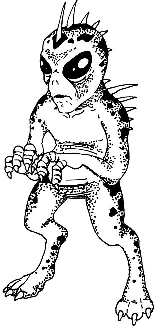 A drawing of the Chupacabra based on the most common description.