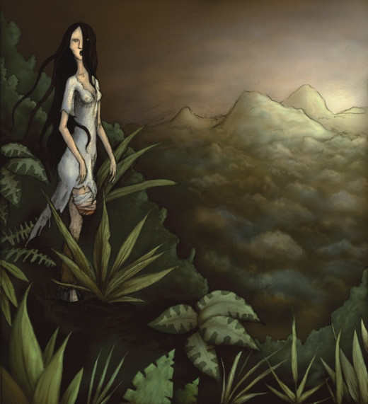 La Patasola in the deep forests where she lures her victims.