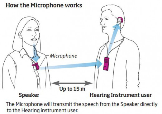 An FM system  has 3 key pieces of technology that are necessary: 1) the mini mic, 2) a bluetooth remote and 3) hearing aids. The speaker wears the small mic clipped to their clothing and the person with hearing loss wears both the remote