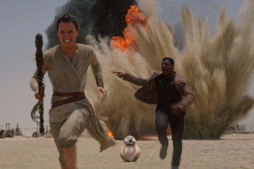Rey and Fin run for their lives