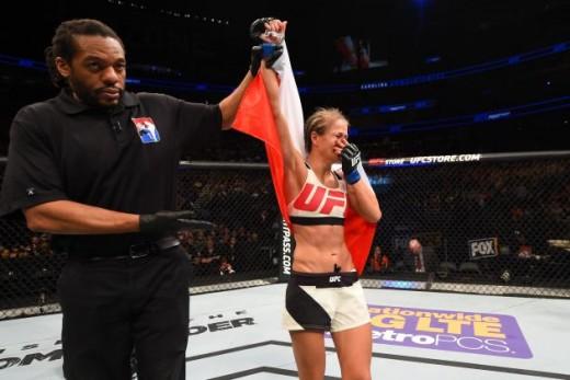 Karolina Kowalkiewicz following her win over Randa Markos in her UFC debut