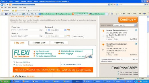 Our Easyjet Booking