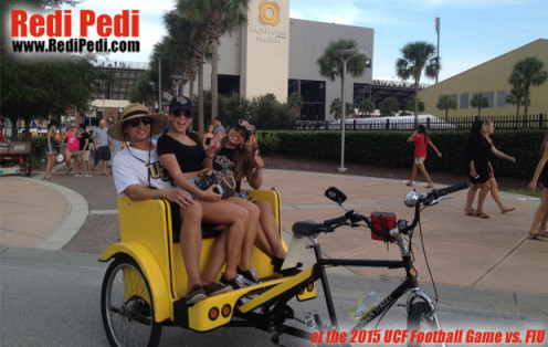 Redi Pedi offers pedicab rides at Bright House Networks Stadium for the University of Central Florida Home College Football Games.