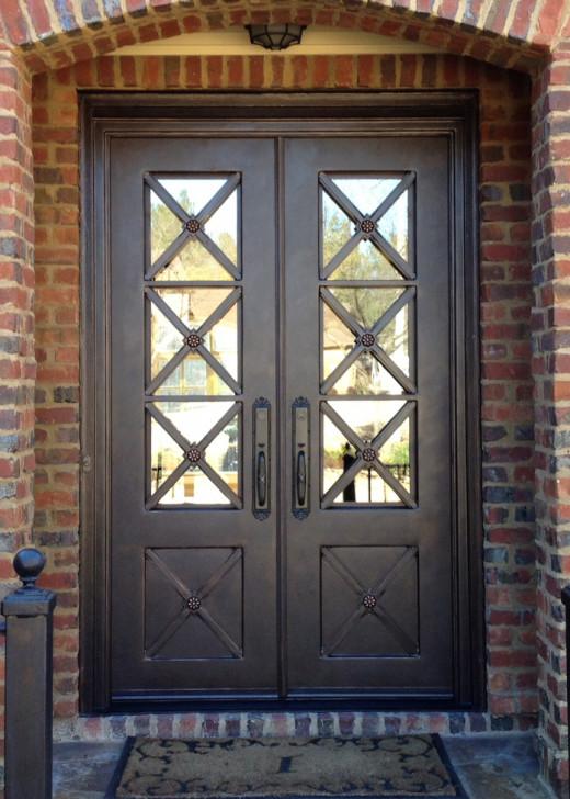 5'x8' double door, Eskridge style with straight top and Emtek Imperial handles
