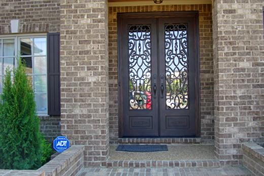 5'x8' double door, Douglas style with straight top and Emtek Imperial handles