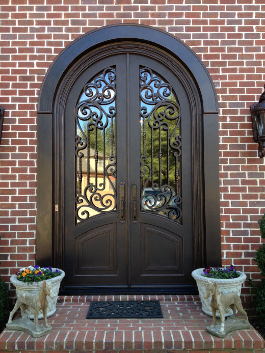 6'x9' double door, McKnight style with Full radius arched top and Emtek Imperial handles