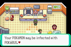 Pokerus notification at the PokeCenter